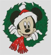 Mickey mouse christmaas xmase decoration wreath Childrens cross stitch charts and patterns