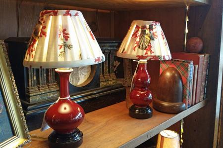 2 red burghandy small shelf table porceline lamps with bespoke custom coral print shades and