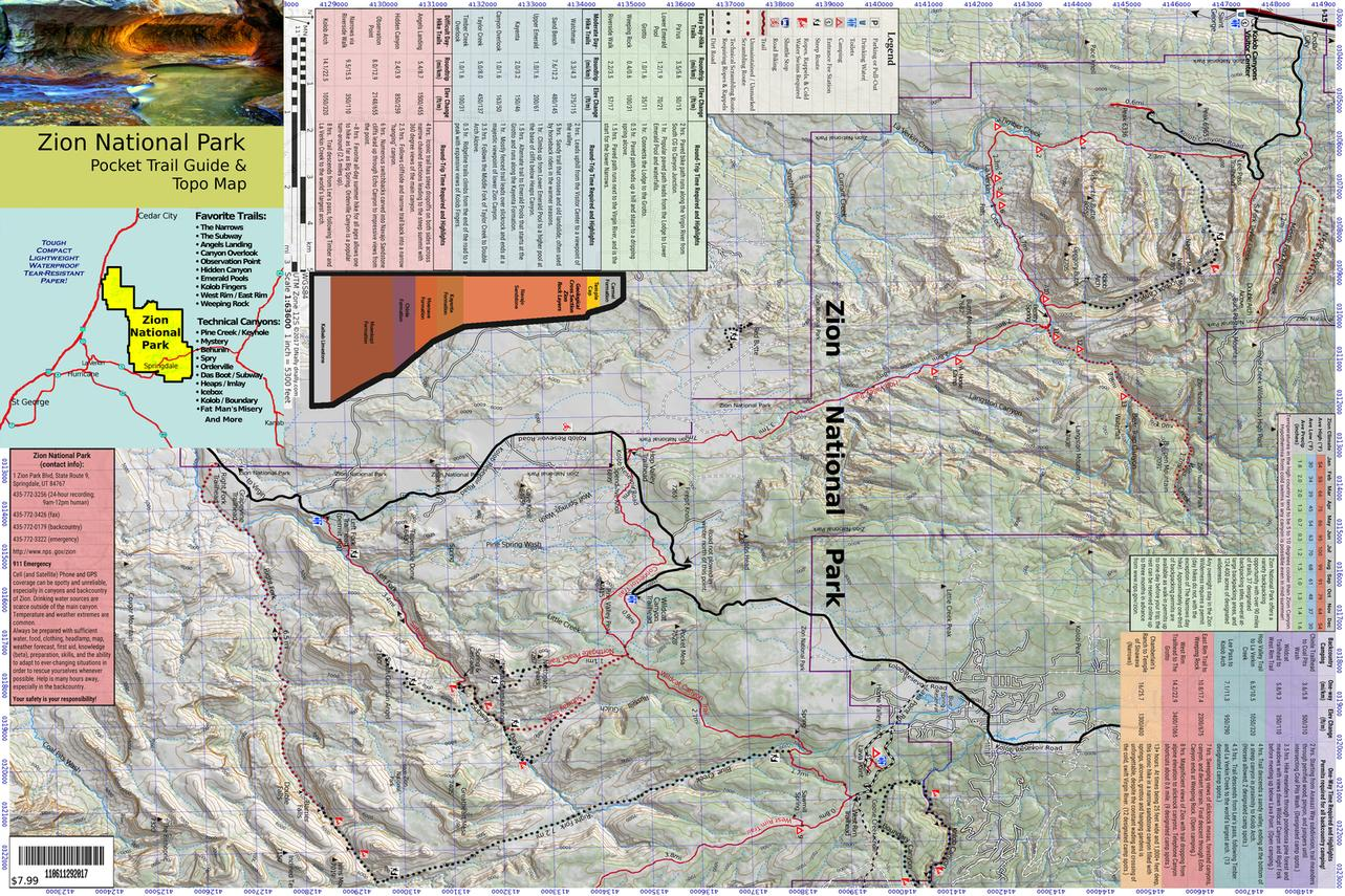 Pocket Guide and Topo Map of Zion National Park on canyonlands topographic map, grand mesa topographic map, blue ridge parkway topographic map, uinta mountains topographic map, delaware water gap topographic map, redwood national park topographic map, zion national park temperature map, eureka topographic map, simple contour lines topographic map, coconino plateau topographic map, horseshoe canyon topographic map, zion canyon campground map, sequoia national park topographic map, browse topographic map, west rim trail topographic map, el capitan topographic map, rockville topographic map, hawaii volcanoes national park topographic map, panguitch lake topographic map, red rock canyon topographic map,