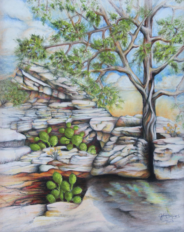 trees and cliffs pastel paintings by janet l haynes