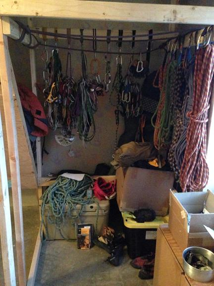 Stone Adventures - Joshua Tree Rock Climbing Guides - Gear Closet attached to freestanding home rock climbing wall