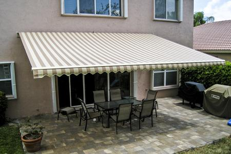 fabric patio awning retractable with sunbrella