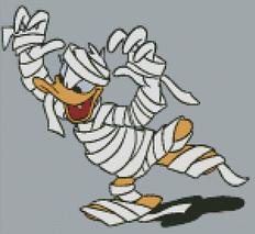 Cross Stitch Chart of Halloween Mummy Donald Duck