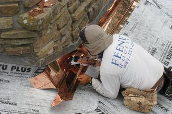 Installing copper flashing