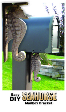 DIY Seahorse Nautical mailbox bracket. Check out all of our Easy DIY nautical crafts. www.DIYeasycrafts.com
