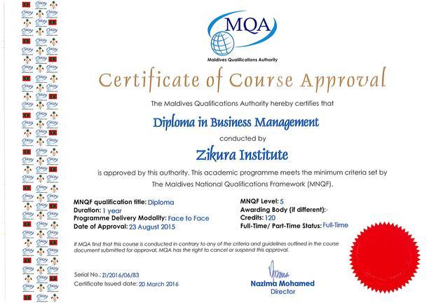 Diploma In Business Management Zikura International College