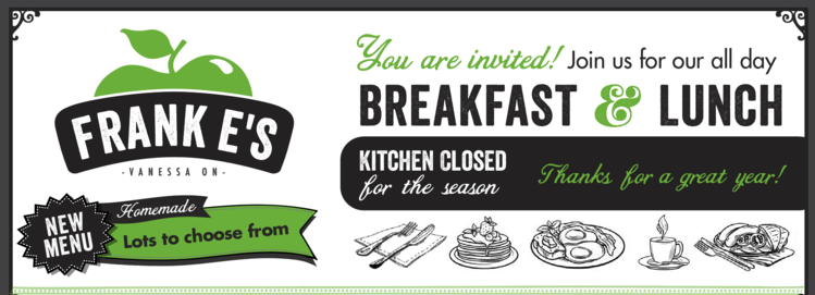 Frank E's Kitchen Hours All Day Breakfast, New Menu