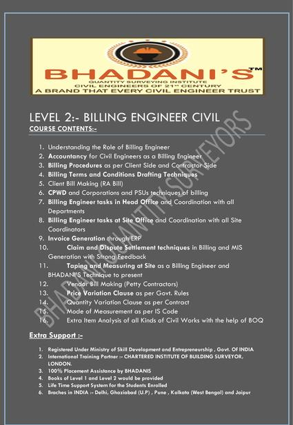 BHADANI QUANTITY SURVEYING BILLING ENGINEER COURSE IN DELHI KOLKATA MUMBAI PUNE RAJASTHAN GHAZIABAD UTTAR PRADESH