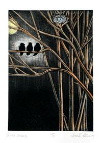 Printmaking Artist Three Crows