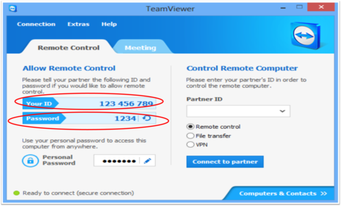 Example of TeamViewer ID & Password