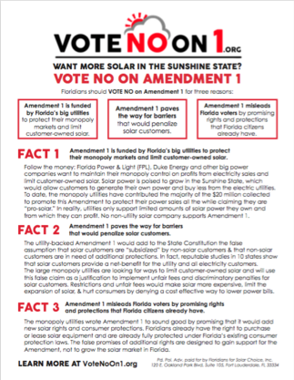 Vote No on FL Amendment 1 Fact Sheet