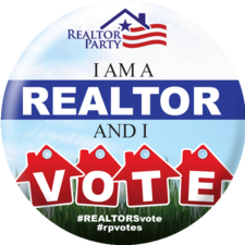 Round Pin: I am a REALTOR® and I VOTE. Realtor Party #REALTORSvote #rpvotes