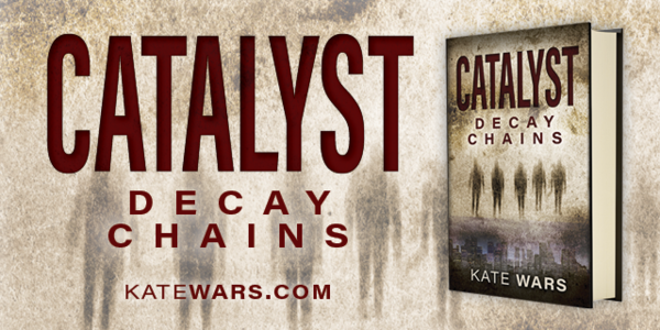 Tan Catalyst: Decay Chains graphic with book cover and shadow zombies walking