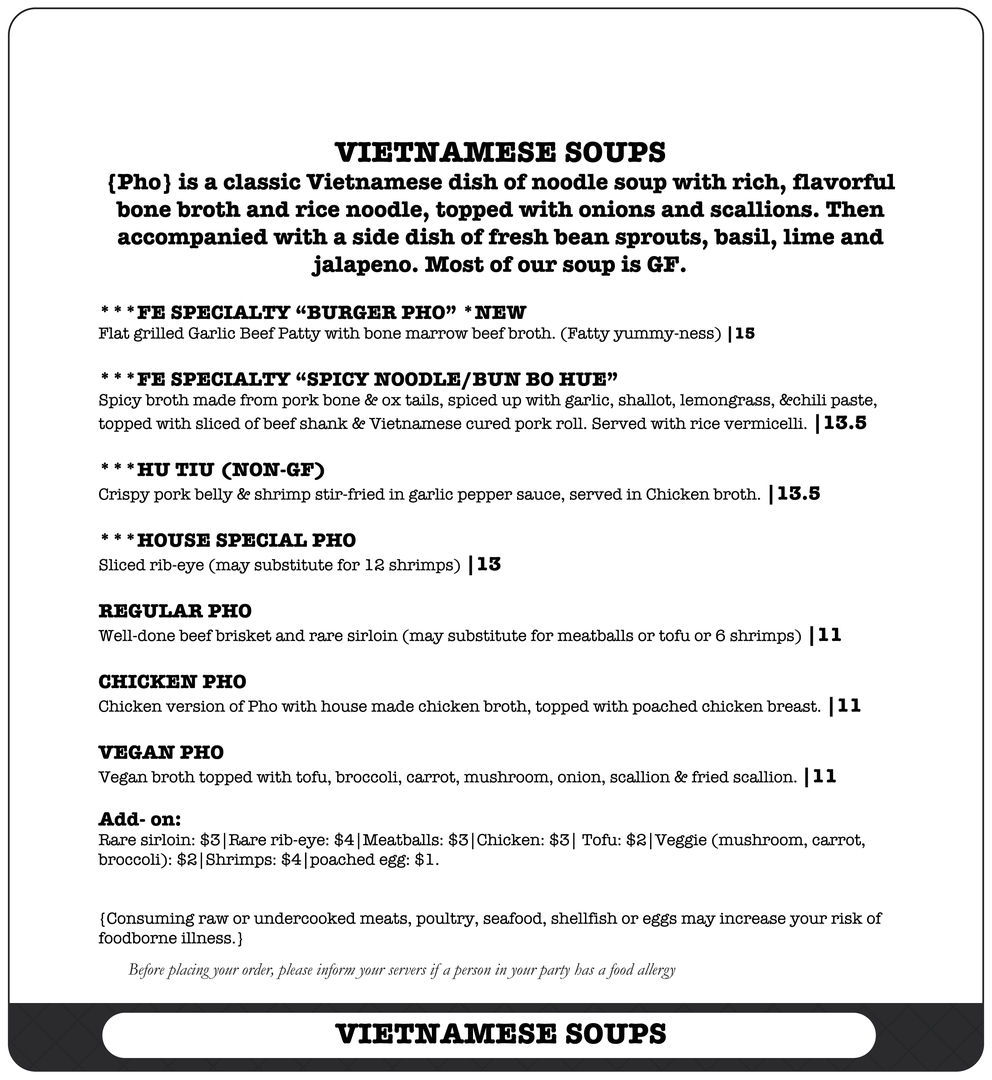 Nashville Vietnamese Cuisine Menu - Far East Nashville