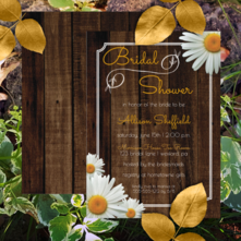 Rustic faux wood and shasta daisies bridal shower invitations