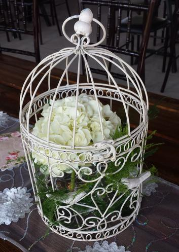 White Bird Cage with Hydrangea