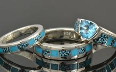 Turquoise engagement ring and wedding ring set in sterling silver.