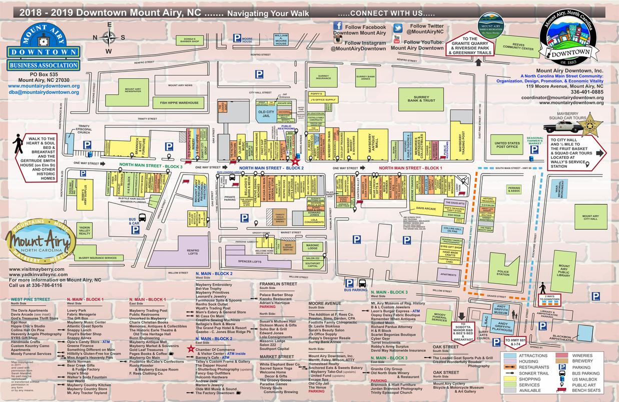 Mt Airy Nc Map Downtown Map