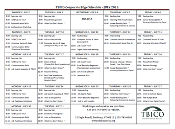 Click here for July 2018 Corporate Edge Schedule
