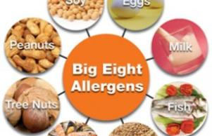 Food Eight Allergens; Soy, Eggs, Milk, Peanuts, Tree Nuts, Shellfish, Wheat, Fish.