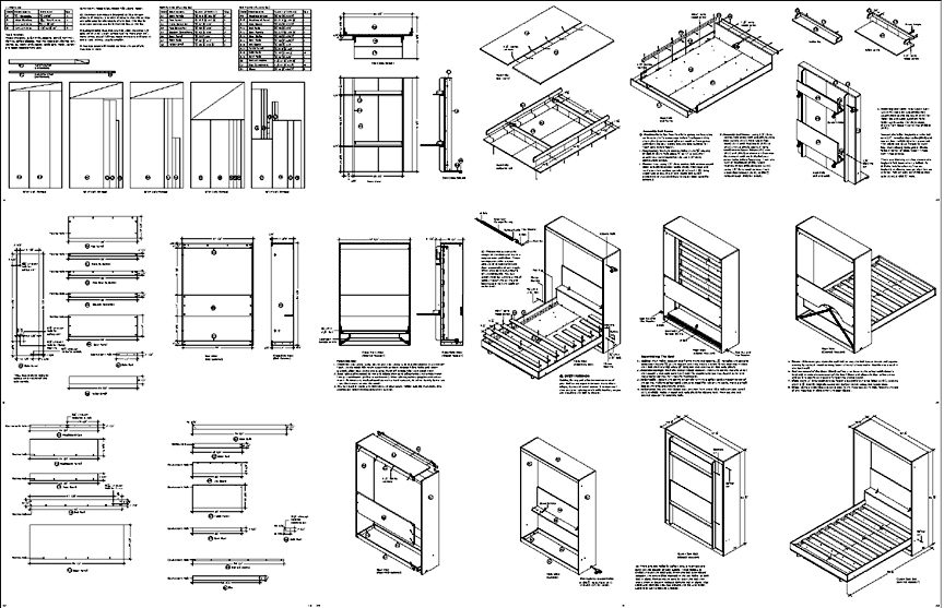 Full wall bed desk combo plans ccuart Gallery