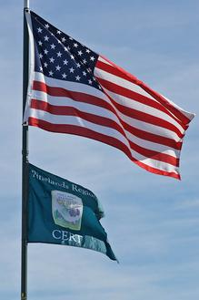 American flag and Pinelands CERT flag flying