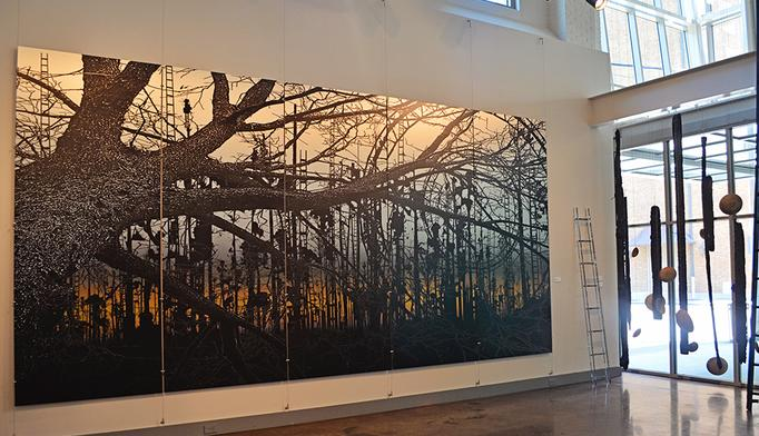 Old Forster Oak Fell into the Ring, Landscape on Metal Panels by Dawn DeDeaux