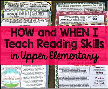 Reading Skills Using Task Cards