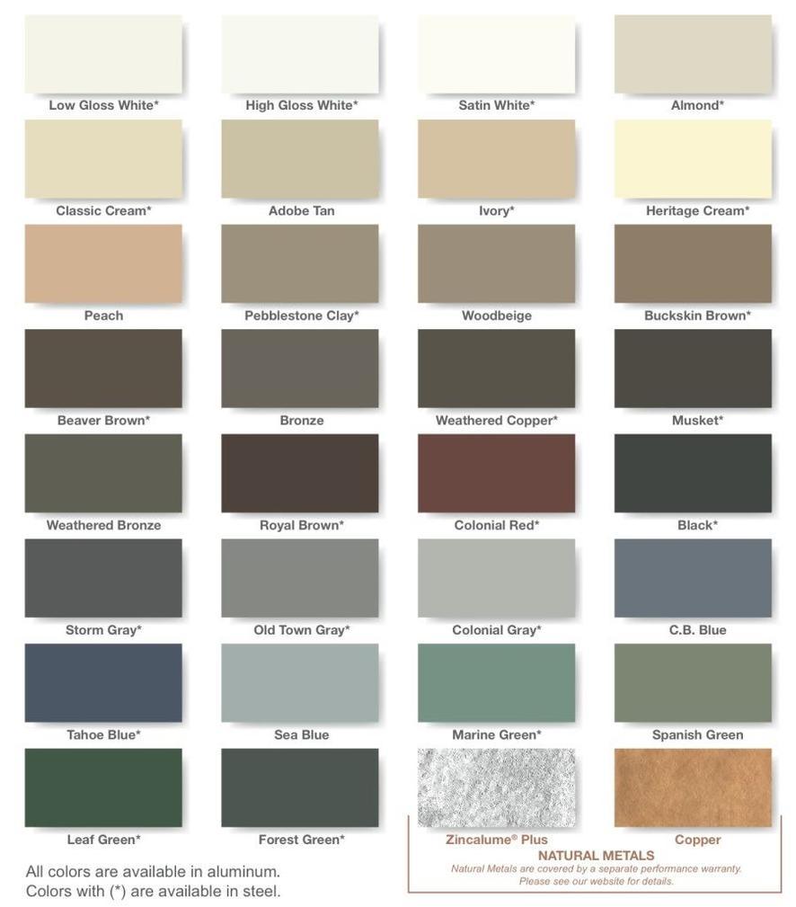 Gutter color chart 771 badger road fairbanks ak 99705 contact us gutter color chart nvjuhfo Choice Image