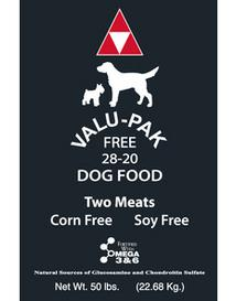 Valu-Pak dog food grain free with a variety of flavors and protein levels