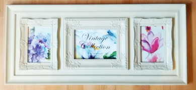 Vintage style Tri-photo frame 4x6 and 5x7 inches