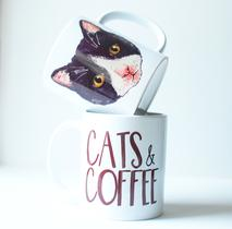 Cat lover's gift, cats and coffee