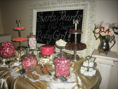 Silver and glass candy bar set-up.Ivory chalkboard with calligraphy.