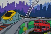 Bus, train & aeroplane canvas board painting