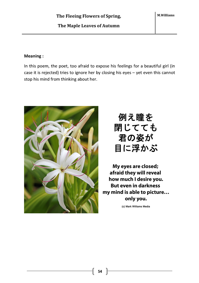 Japanese Poetry Book The Fleeting Flowers Of Spring