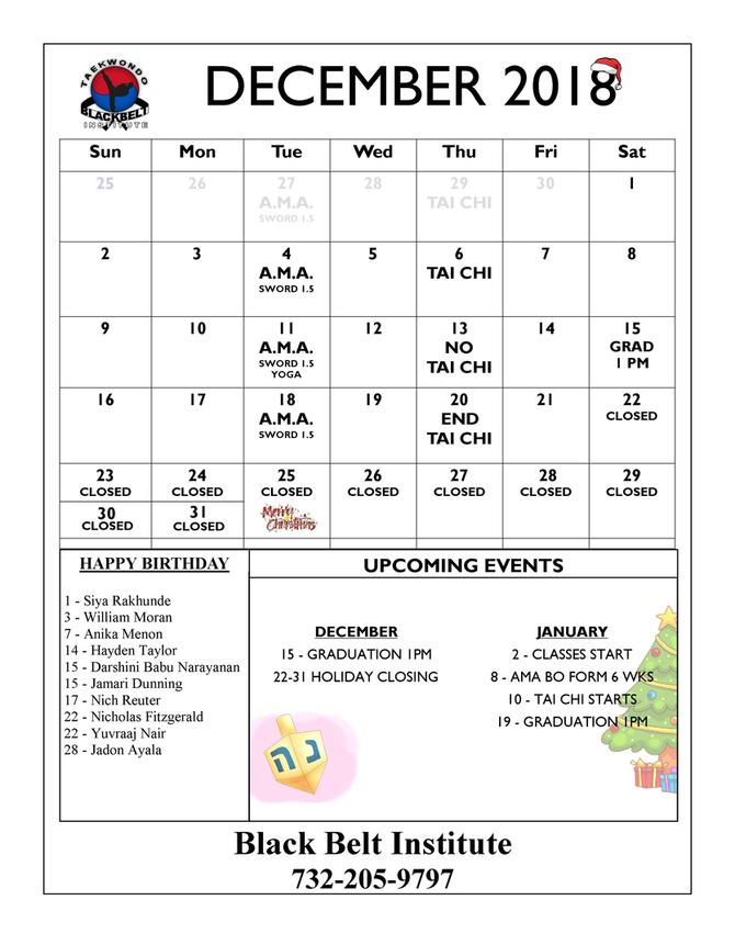 BLACK BELT INSTITUTE MARTIAL ARTS AND KARATEEVENTS CALENDER METUCHEN EDISON