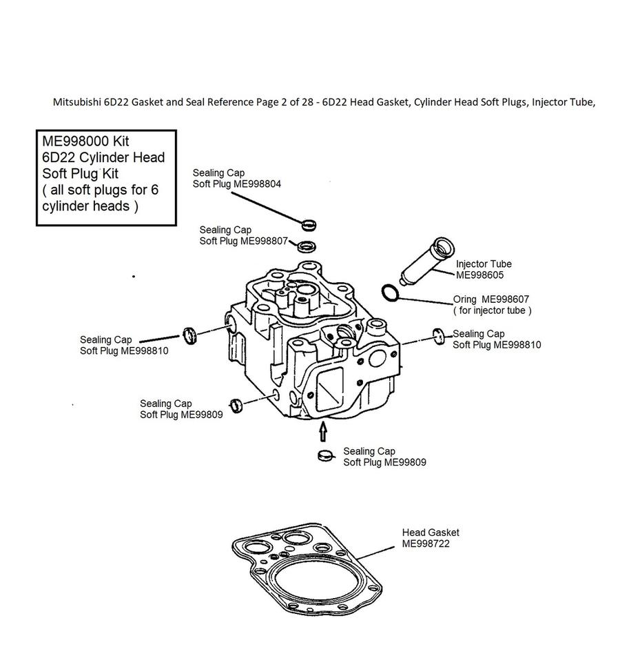 Mitsubishi 6D22 Gasket and Seal Reference Page 2 of 28