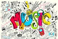 Doodles of music. Instruments, music notes, CD's and cassette tapes.