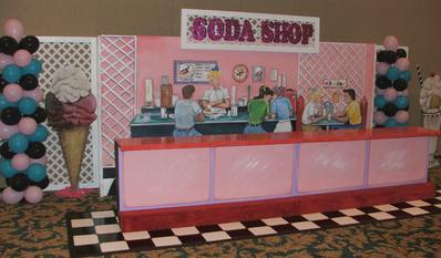 50's Themed Event Decor-Soda Shop Counter-Backdrop