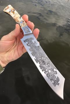 DIY two tone metal etching. Nautical Sea Turtle themed Chef knife. FREE how-to instructions. www.DIYeasycrafts.com or tp purchase from www.bergknifemaking.com