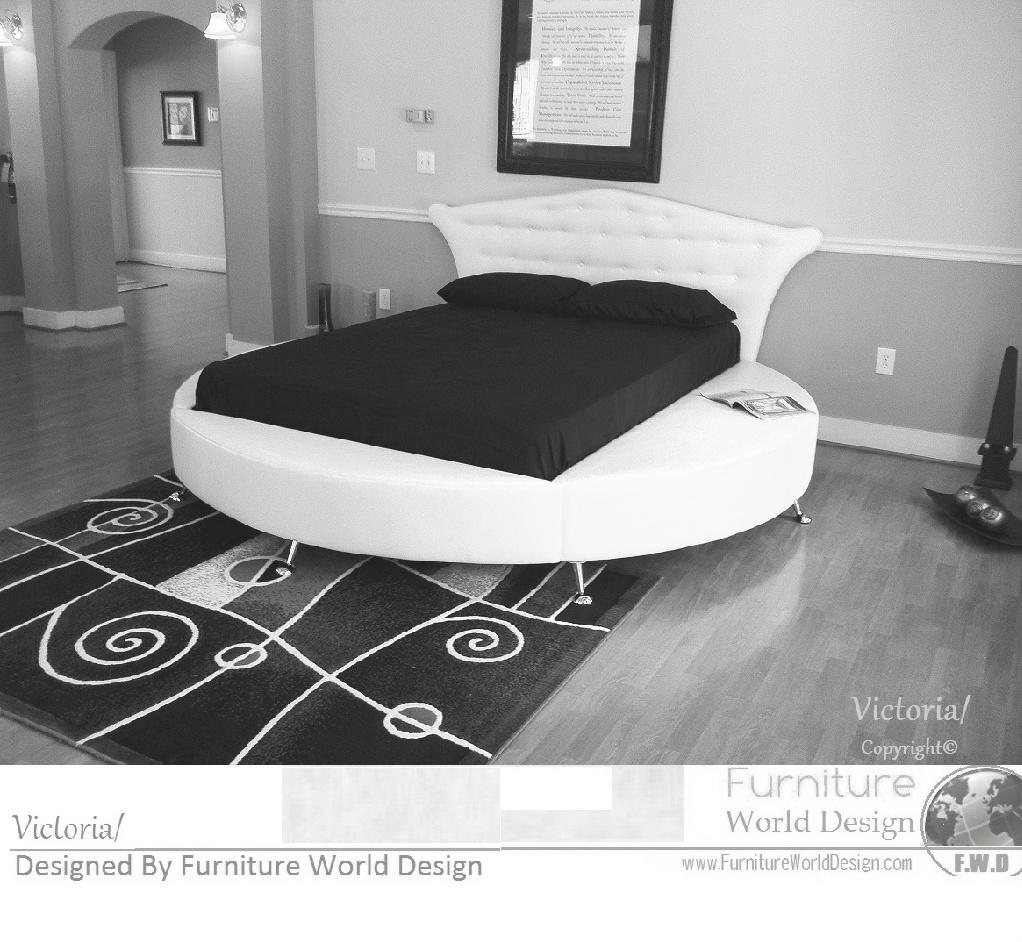 Modern Furniture Furniture World Design - Black leather round bed