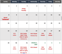 POC December Events Calendar
