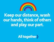 Picture of 'Keep our distance, wash our hands, think of others and play our part