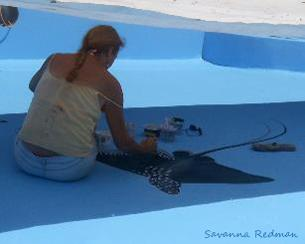 Savanna Painting a pool mural