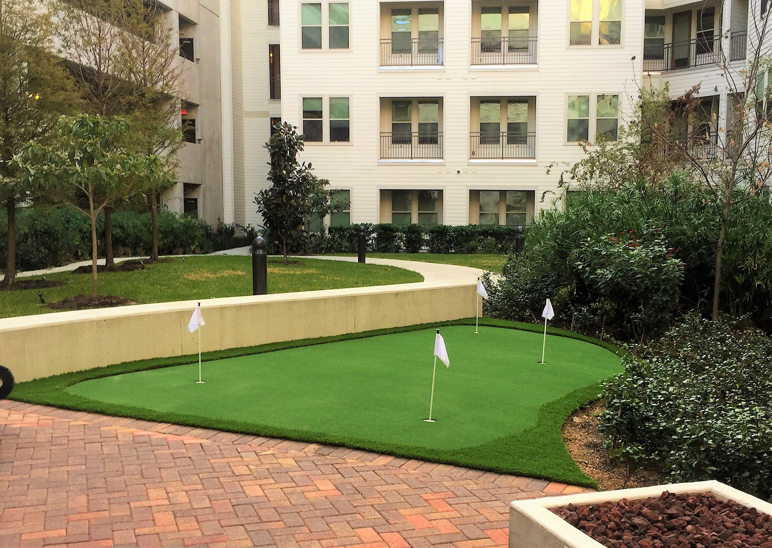 commercial artificial grass synthetic turf installation in