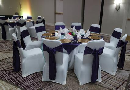 purple satin table set-up