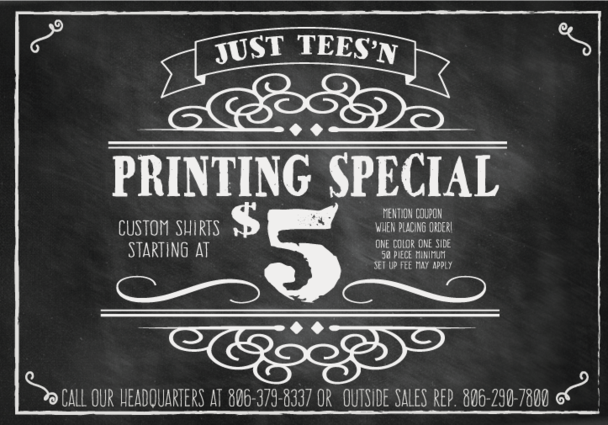 Just Tees'n Printing Promo Coupon