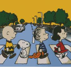 Cross Stitch chart of the Charlie Brown and the Peanuts Gang at Abby Road Studios London