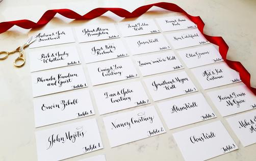 Place cards/escort cards in modern calligraphy
