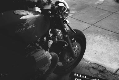 lifestyle motorcycle garage black and white